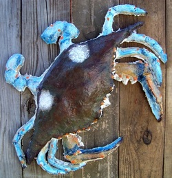 Mache Crab, Backwater Studio, Kathleen Johnson, Folk Art, Mississippi, Crab