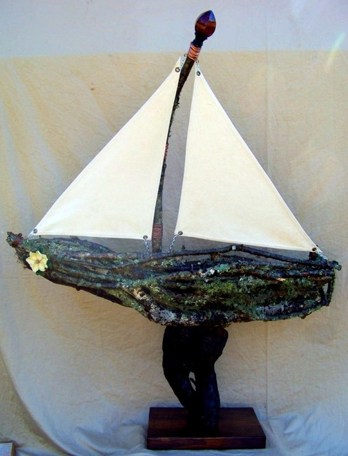 Choke Cherry Wood Boat, Backwater Studio, Commission, Folk Art, Mississippi