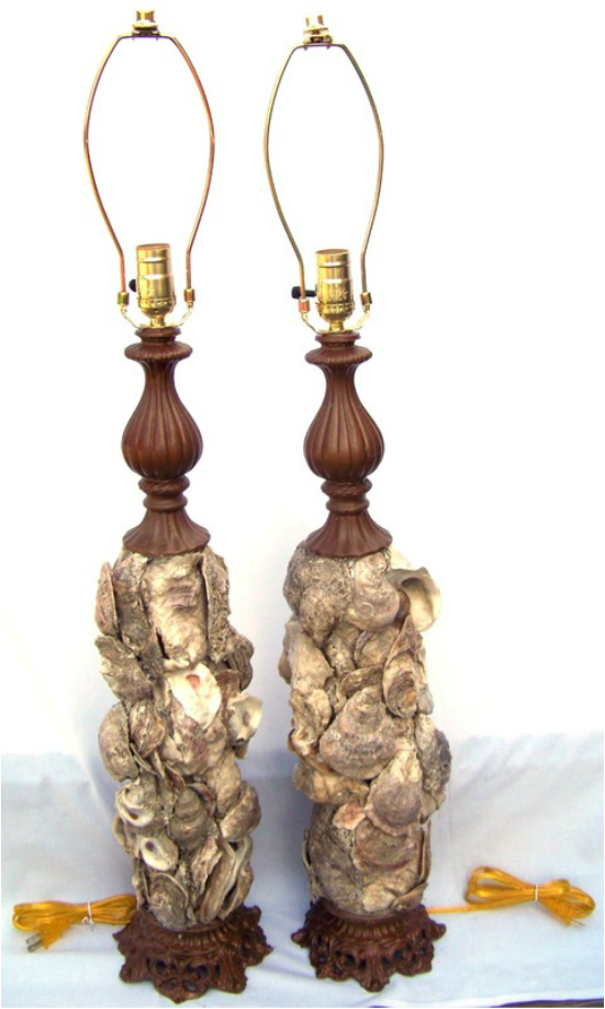 Commission Oyster Shell Lamp Pair, Backwater Studio, Commission, Folk Art, Mississippi