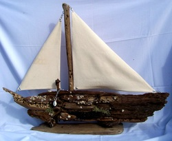 Driftwood Sail Boat, Backwater Studio, Folk Art, Missisippi