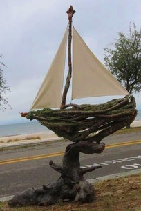 Live Oak Sail Boat, Backwater Studio, Mississippi, Folk Art