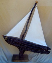 Choke Cherry Wood Boat, Backwater Studio, Kathleen Johnson, Folk Art, Mississippi