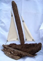 Driftwood Sail Boat, Backater Studio, Folk Art, Mississippi, Kathleen Johnson