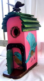 SongBird, Backwater Studio, Folk Art, Kathleen Johnson, Blue Bird, Bumble Bee, Birdhouse, Folk Art, Mississiipi