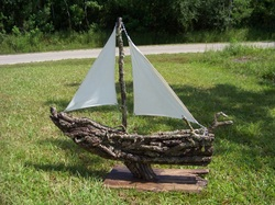 Living Oak Sailing Boat, Backwater Studio, Commission, Folk Art, Mississippi