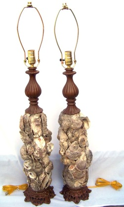 Custom Oyster Shell Lamp Pair, Backwater Studio, Mississippi, Kathleen Johnson, Folk Art