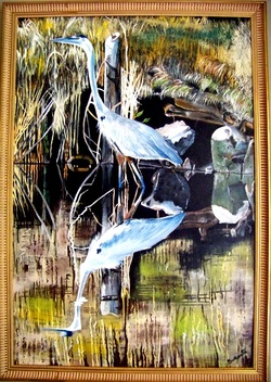 Jordan River Bay, Backwater Studio, Blue Heron, Mississippi, Kathleen Johnson