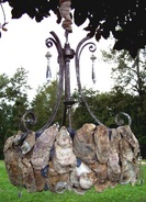 Oyster Shell Chandelier, Backwater Studio, Mississippi, Folk Art, Resourced Materials, Coastal