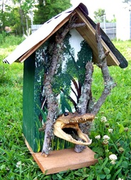 Alligator Bird House, Backwater Studio, Folk Art, Mississippi