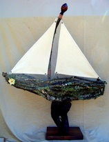 Live Oak Moss Boat, Backwater Studio, Kathleen Johnson, Folk Art, Mississippi